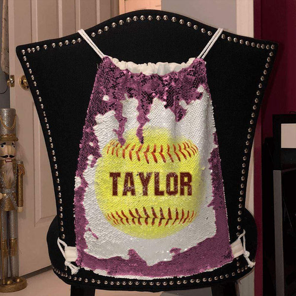 Softball Personalized Magic Sequin Backpacks Sequin Backpack BLINGZ Pink