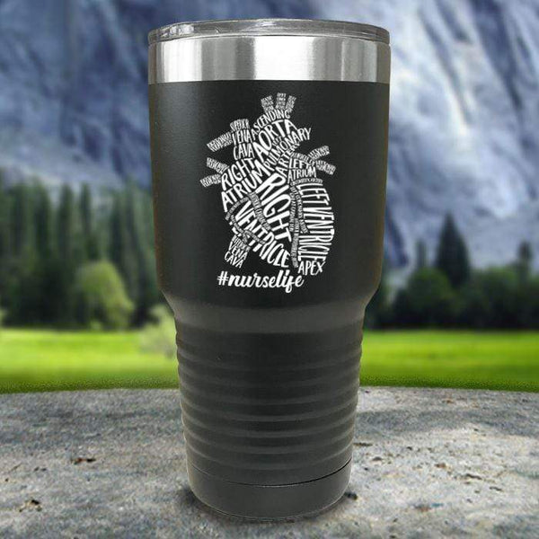 Nurse Descriptive Heart Color Printed Tumblers Tumbler Nocturnal Coatings 30oz Tumbler Black