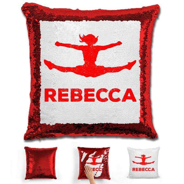 Competitive Cheerleader Personalized Magic Sequin Pillow Pillow GLAM Red Red
