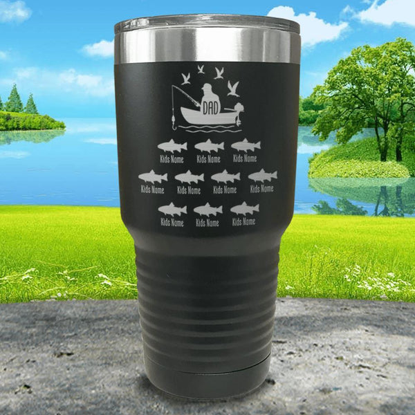 Fishing Dad (CUSTOM) With Child's Name Engraved Tumblers Tumbler ZLAZER 30oz Tumbler Black