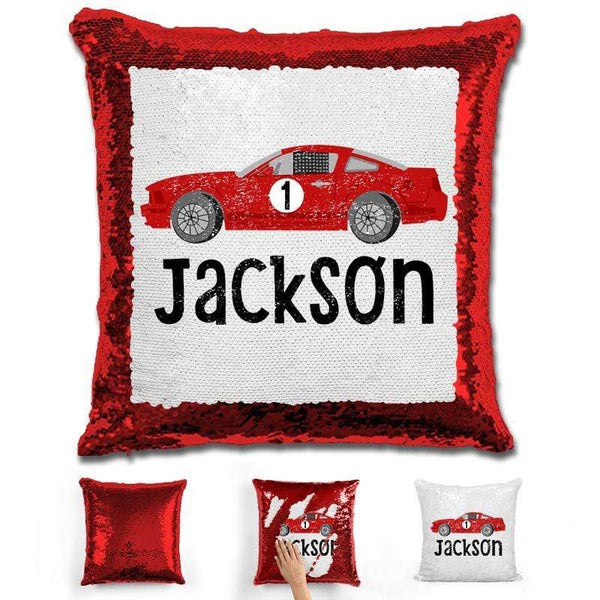 Race Car Personalized Magic Sequin Pillow Pillow GLAM Red