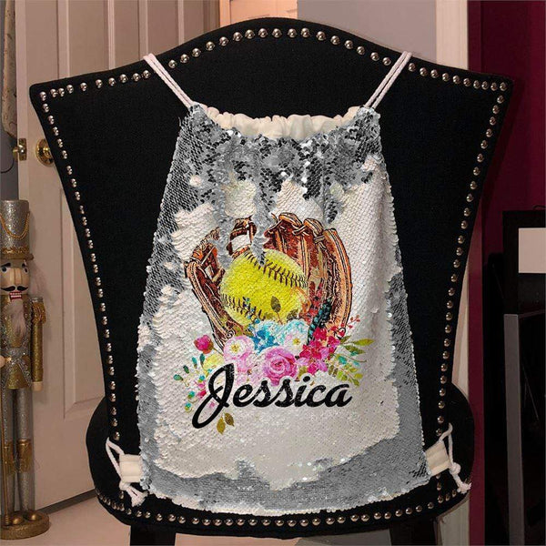 Softball Glove Personalized Magic Sequin Backpacks Sequin Backpack BLINGZ Silver