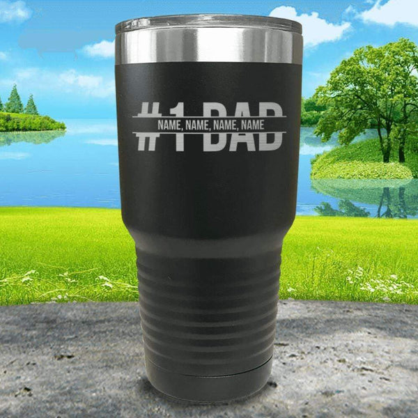 #1 Dad (CUSTOM) With Child's Name Engraved Tumbler Tumbler ZLAZER 30oz Tumbler Black