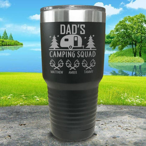 Dad's Camping Squad (CUSTOM) With Child's Name Engraved Tumblers Tumbler ZLAZER 30oz Tumbler Black