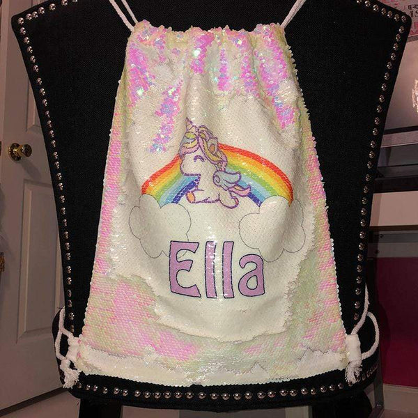 Personalized Unicorn Rainbow Magic Sequin Backpacks Sequin Backpack BLINGZ iridescent
