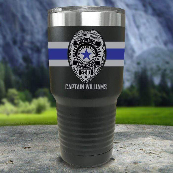 Personalized Police FULL Wrap Color Printed Tumblers Tumbler Nocturnal Coatings 30oz Tumbler Black