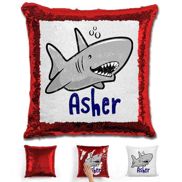 Shark Personalized Magic Sequin Pillow Pillow GLAM Red
