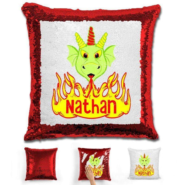 Dragon Personalized Magic Sequin Pillow Pillow GLAM Red