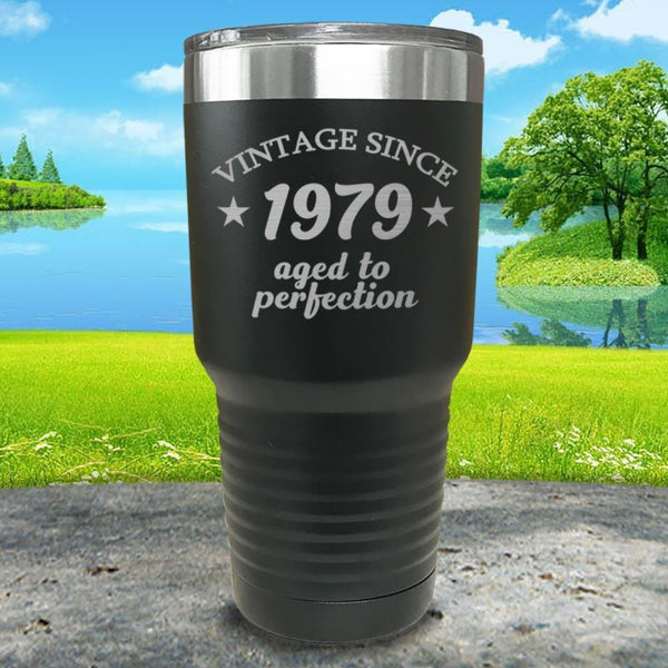 Aged To Perfection (CUSTOM) Engraved Tumbler Tumbler ZLAZER 30oz Tumbler Black