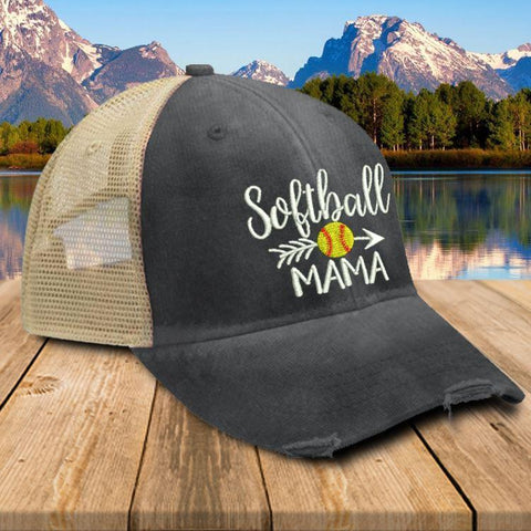Softball Mama Trucker Hat Hat Edge Black