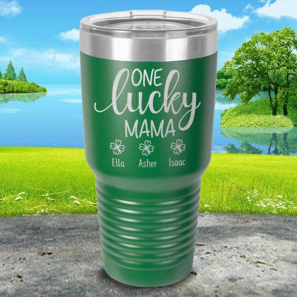 Lucky Mama (CUSTOM) With Child's Name Engraved Tumblers Tumbler ZLAZER 30oz Tumbler