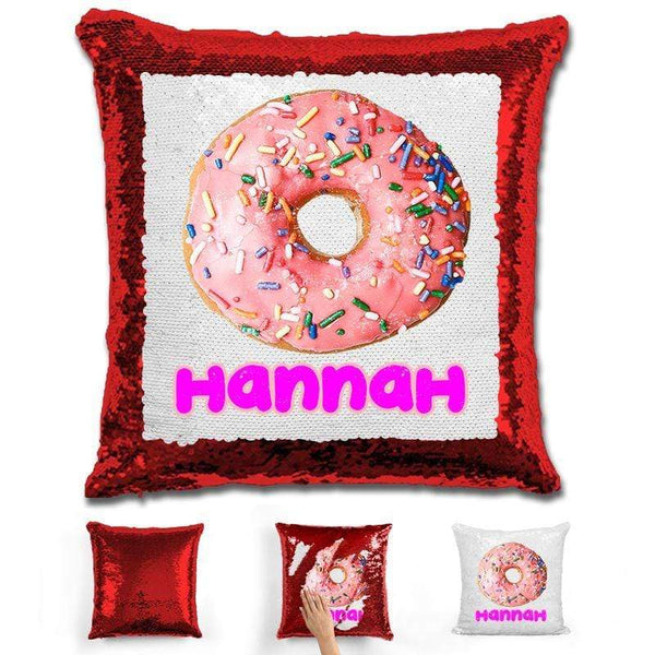 Donut Personalized Magic Sequin Pillow Pillow GLAM Red