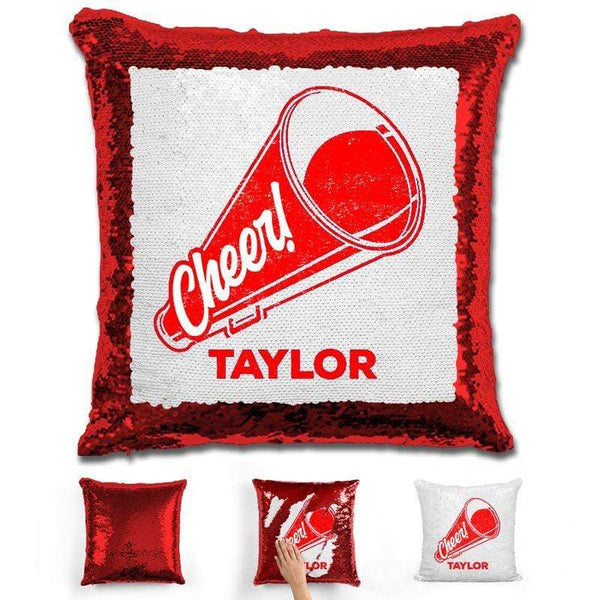 Cheerleader Personalized Magic Sequin Pillow Pillow GLAM Red Red