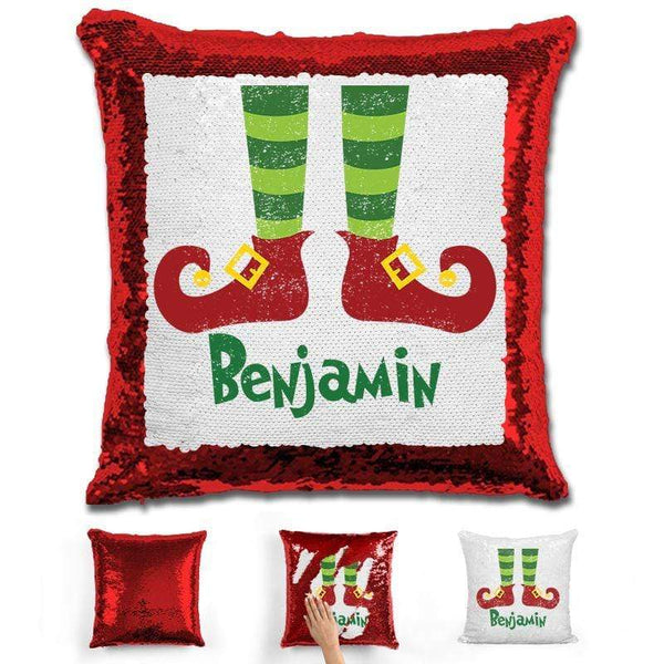 Personalized Elf Legs Christmas Magic Sequin Pillow Pillow GLAM Red