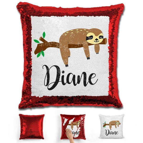 Sloth Personalized Magic Sequin Pillow Pillow GLAM Red