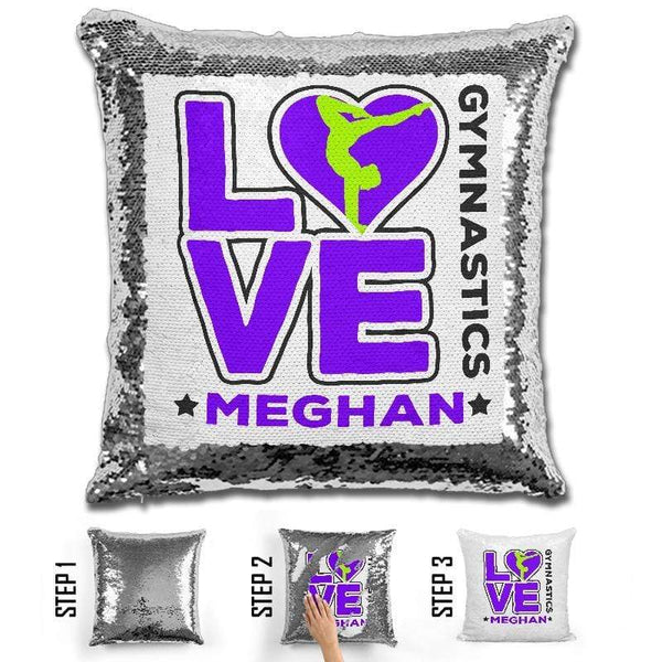 Personalized LOVE Gymnastics Magic Sequin Pillow Pillow GLAM Purple