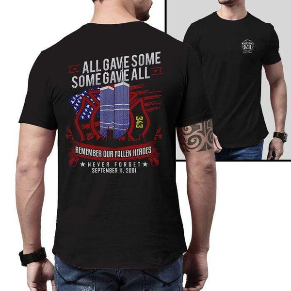 Never Forget 9-11 Firefighter 343 T-Shirts CustomCat Black X-Small
