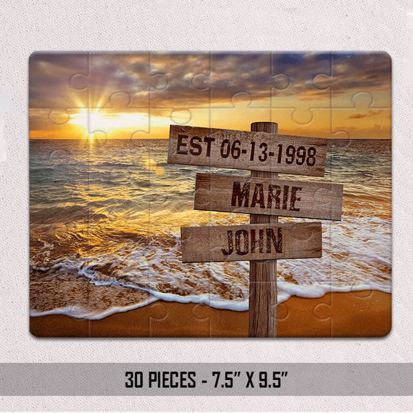 Personalized Sunset Beach & Love Jigsaw Puzzles