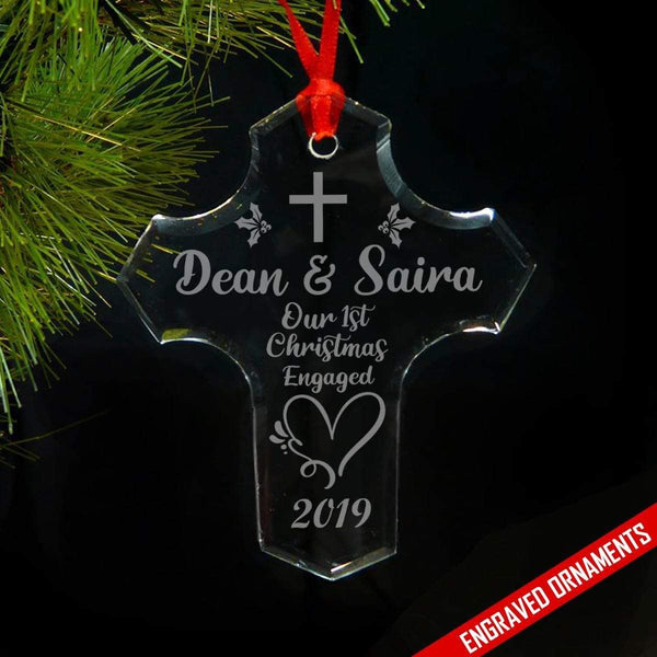 CUSTOM 1st Christmas Engaged Engraved Glass Ornament ZLAZER Cross Ornament