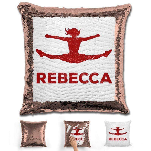 Competitive Cheerleader Personalized Magic Sequin Pillow Pillow GLAM Rose Gold Maroon