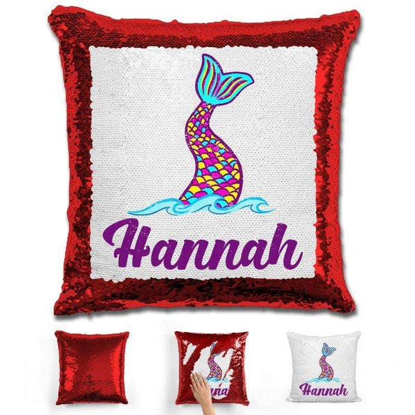 Mermaid Tail Personalized Magic Sequin Pillow Pillow GLAM Red