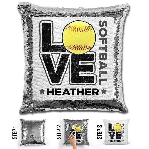 Personalized LOVE Softball Magic Sequin Pillow Pillow GLAM Silver Black