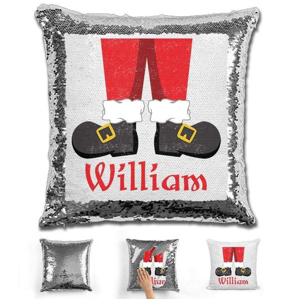 Personalized Santa Legs Magic Christmas Sequin Pillow Pillow GLAM Silver