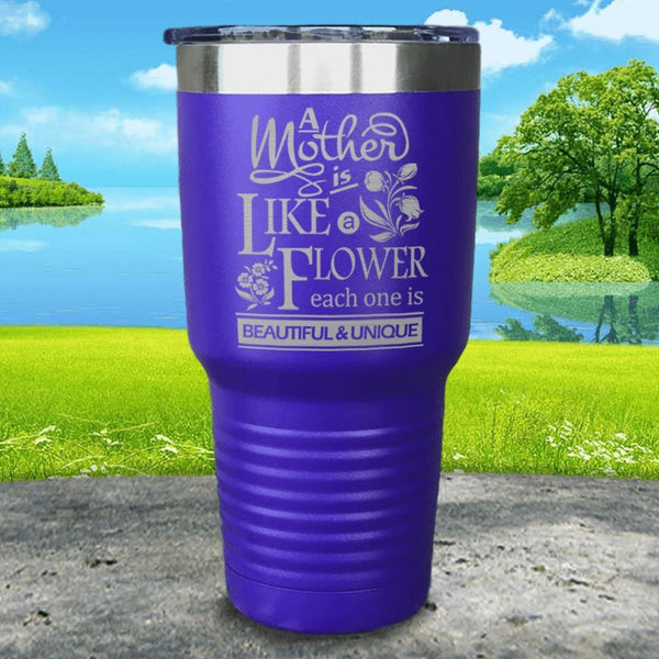 A Mother Is Like A Flower Engraved Tumbler Tumbler ZLAZER 30oz Tumbler Royal Purple