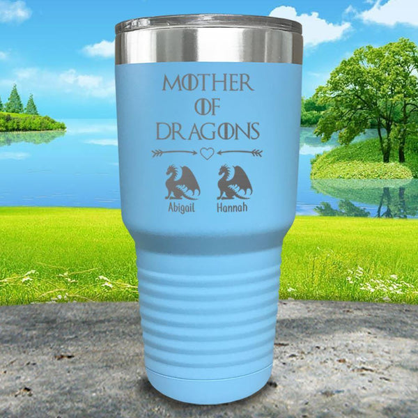 Mother Of Dragons (CUSTOM) With Child's Name Engraved Tumblers Tumbler ZLAZER 30oz Tumbler Light Blue