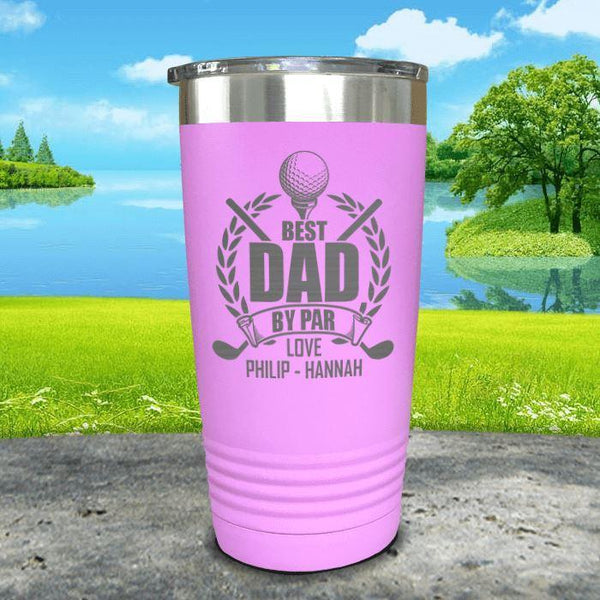 CUSTOM Best Dad By Par Engraved Tumblers Tumbler ZLAZER 20oz Tumbler Lavender