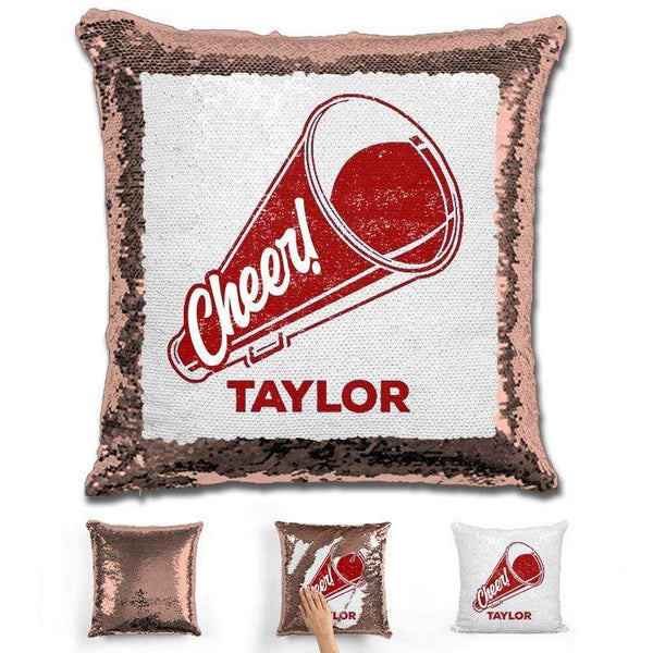 Cheerleader Personalized Magic Sequin Pillow Pillow GLAM Rose Gold Maroon
