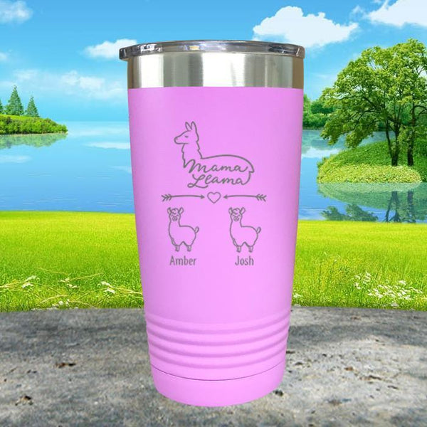 Mama Llama (CUSTOM) With Child's Name Engraved Tumblers Tumbler ZLAZER 20oz Tumbler Lavender