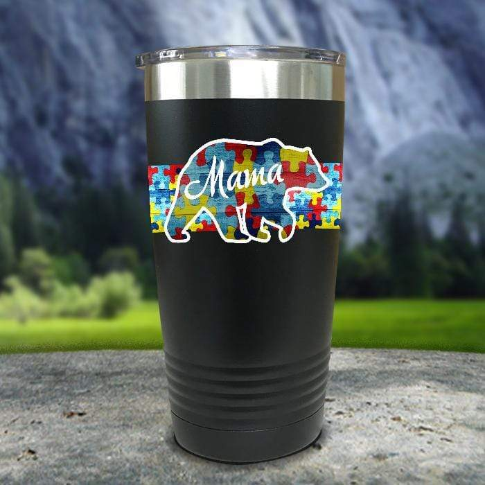 Personalized Autism Bear FULL Wrap Color Printed Tumblers Tumbler Nocturnal Coatings 20oz Tumbler Black