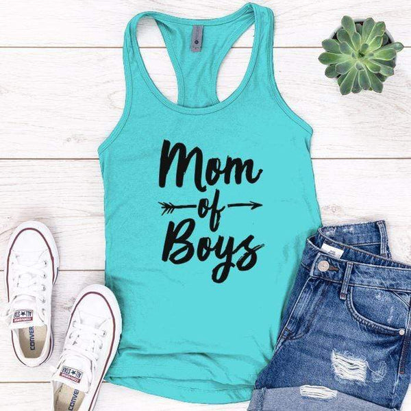 Mom Of Boys Premium Tank Tops Apparel Edge Tahiti Blue S