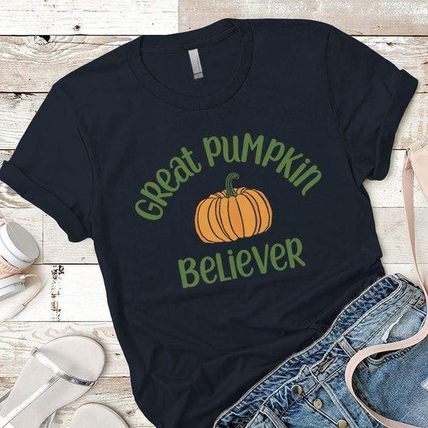 Pumpkin Believer Premium Tees T-Shirts CustomCat Midnight Navy X-Small