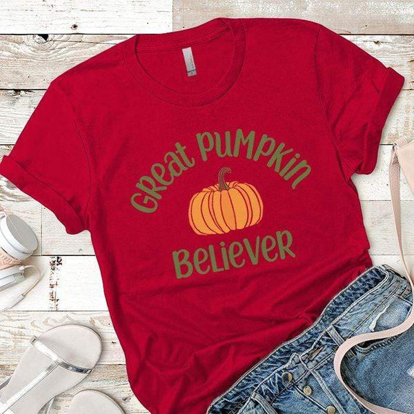Pumpkin Believer Premium Tees T-Shirts CustomCat Red X-Small