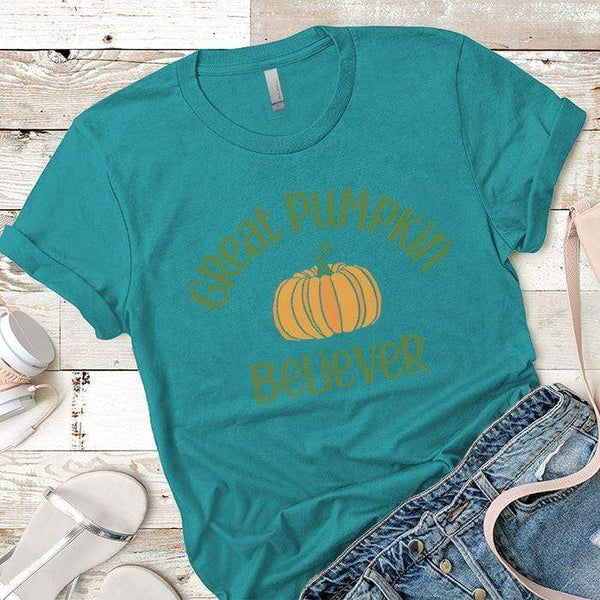 Pumpkin Believer Premium Tees T-Shirts CustomCat Tahiti Blue X-Small