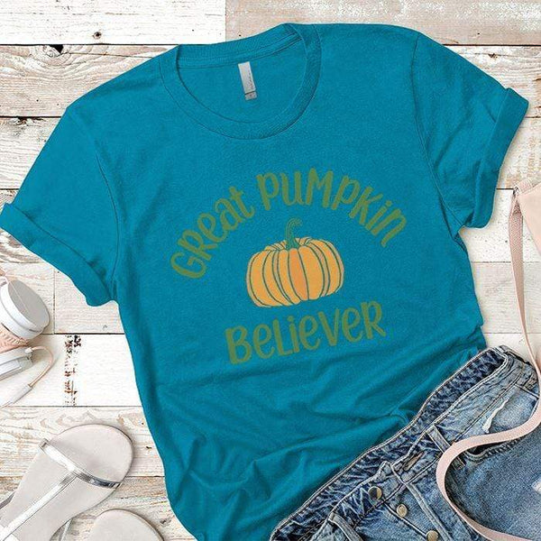 Pumpkin Believer Premium Tees T-Shirts CustomCat Turquoise X-Small