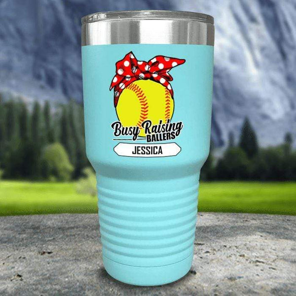 CUSTOM Busy Raising Ballers Color Printed Tumblers Tumbler Nocturnal Coatings 30oz Tumbler Softball Mint
