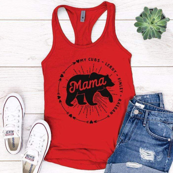 PERSONALIZED Mama Bear Premium Tank Tops Apparel Edge Red S