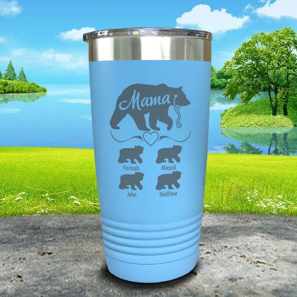 Mama Bear Nurse (CUSTOM) With Child's Name Engraved Tumblers Tumbler ZLAZER 20oz Tumbler Light Blue