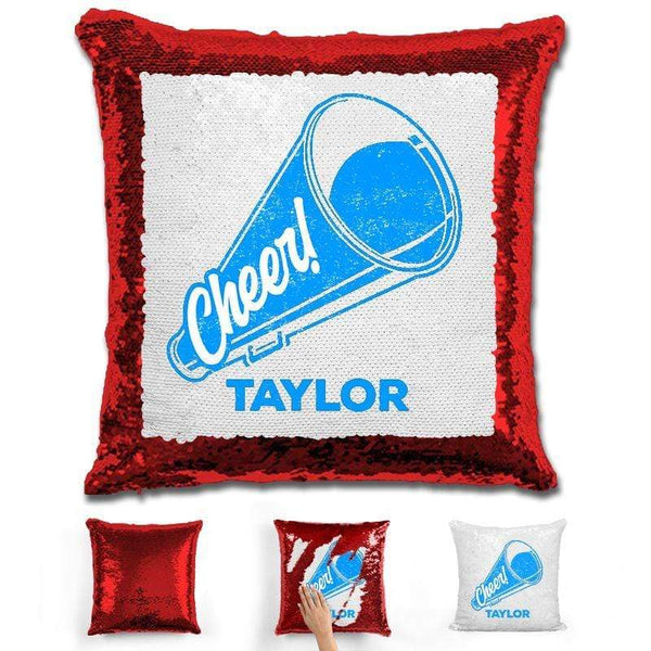 Cheerleader Personalized Magic Sequin Pillow Pillow GLAM Red Light Blue