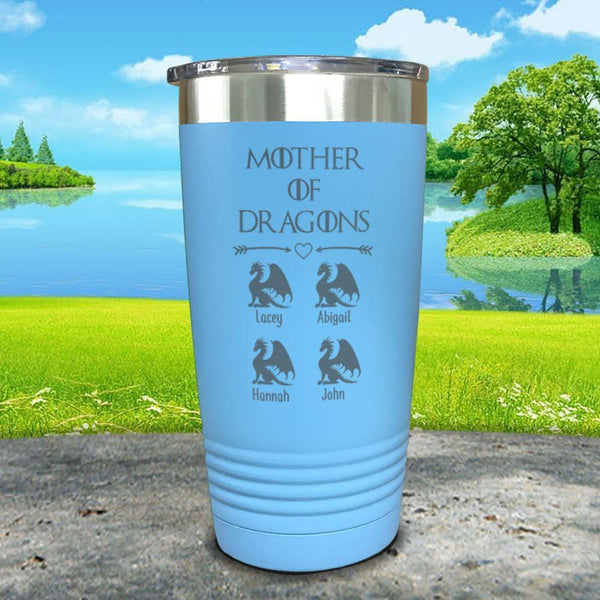 Mother Of Dragons (CUSTOM) With Child's Name Engraved Tumblers Tumbler ZLAZER 20oz Tumbler Light Blue