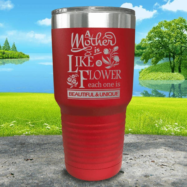 A Mother Is Like A Flower Engraved Tumbler Tumbler ZLAZER 30oz Tumbler Red