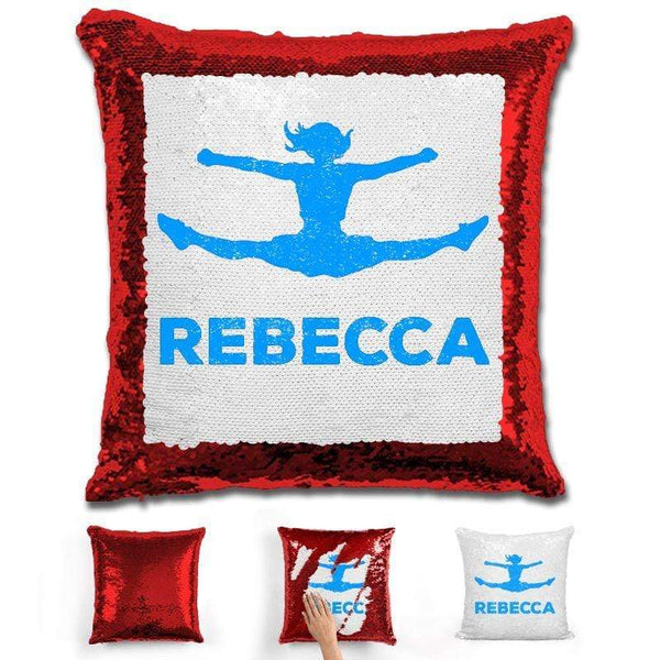 Competitive Cheerleader Personalized Magic Sequin Pillow Pillow GLAM Red Light Blue