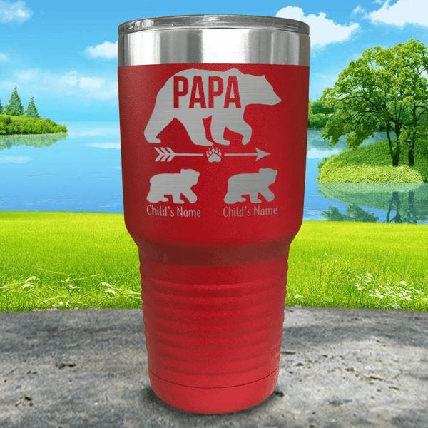Papa Bear (CUSTOM) With Child's Name Engraved Tumblers Tumbler ZLAZER 30oz Tumbler Red