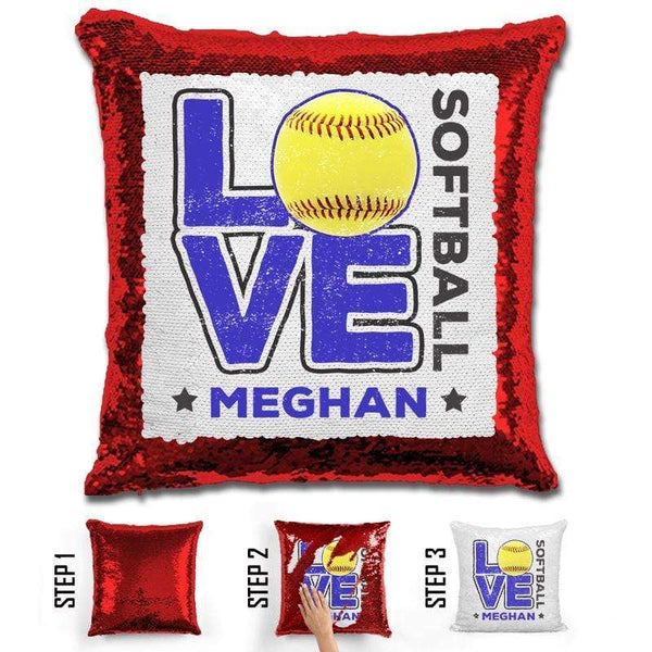 Personalized LOVE Softball Magic Sequin Pillow Pillow GLAM Red Blue