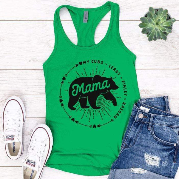 PERSONALIZED Mama Bear Premium Tank Tops Apparel Edge Kelly Green S