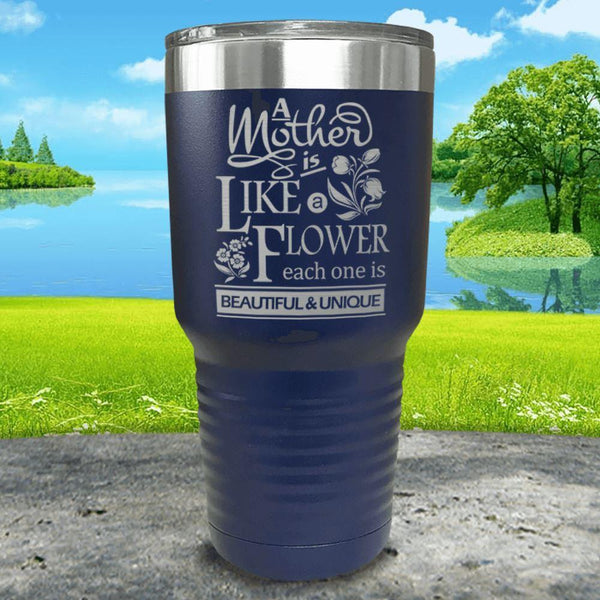 A Mother Is Like A Flower Engraved Tumbler Tumbler ZLAZER 30oz Tumbler Navy
