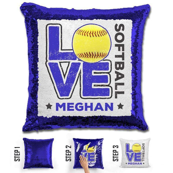 Personalized LOVE Softball Magic Sequin Pillow Pillow GLAM Blue Blue